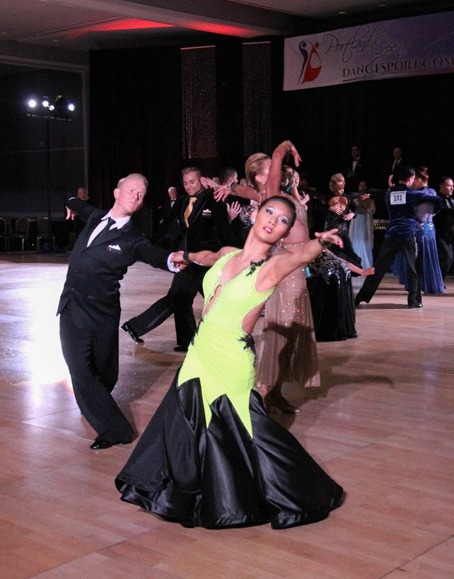 Ruth and Robbie competing Open Professional American Smooth
