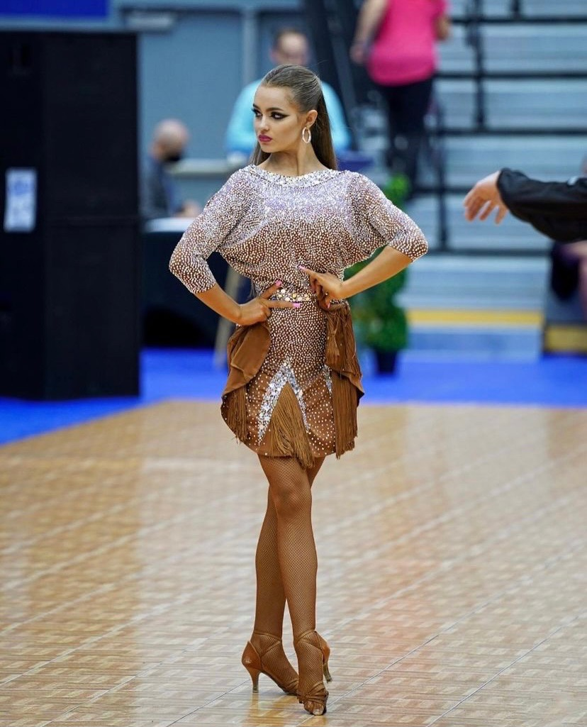 Latin Dancing Girl Brown Dress